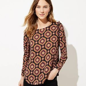 NWT LOFT Medallion Ruffle Shoulder Bar Back Blouse
